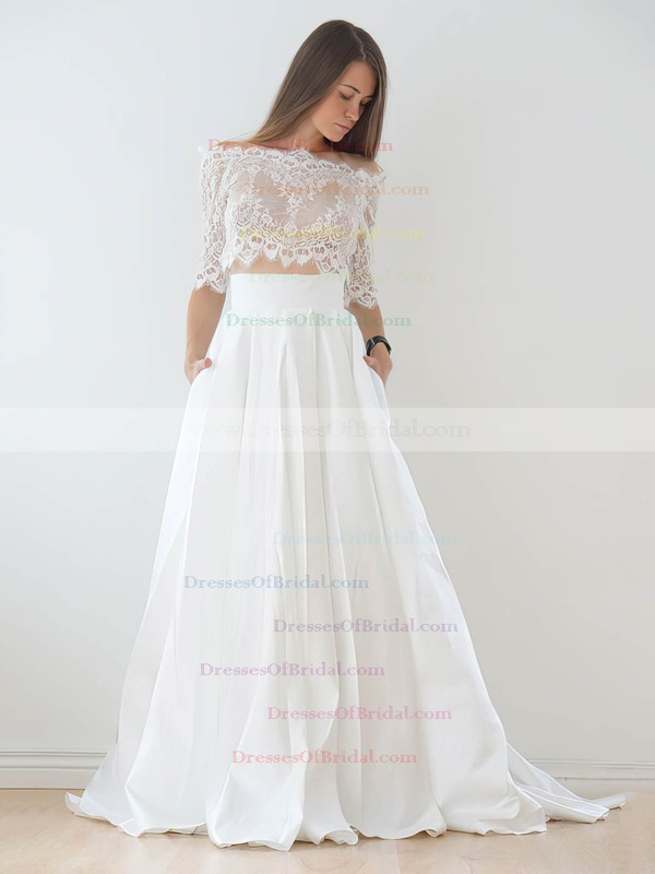 Unique A-line Off-the-shoulder Lace Taffeta Appliques Lace Court Train 1/2 Sleeve Two Piece Wedding Dresses #DOB00022626
