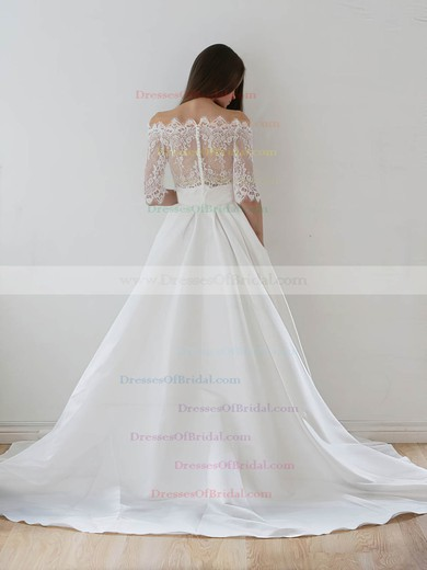 Unique A-line Off-the-shoulder Lace Taffeta Appliques Lace Court Train 1/2 Sleeve Two Piece Wedding Dresses #DOB00022626