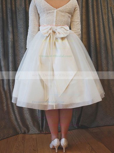 A-line Scoop Neck Lace Organza with Bow 3/4 Sleeve Cheap Tea-length Wedding Dresses #DOB00022627