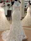 Boutique Trumpet/Mermaid Tulle Appliques Lace Sweep Train High Neck Wedding Dresses #DOB00022628