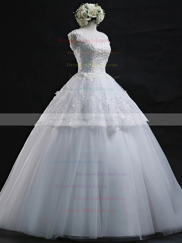 Graceful Scoop Neck Tulle Appliques Lace Floor-length Ball Gown Wedding Dresses #DOB00022629