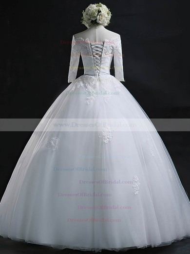 Off-the-shoulder Tulle Appliques Lace Floor-length 3/4 Sleeve Online Ball Gown Wedding Dresses #DOB00022630