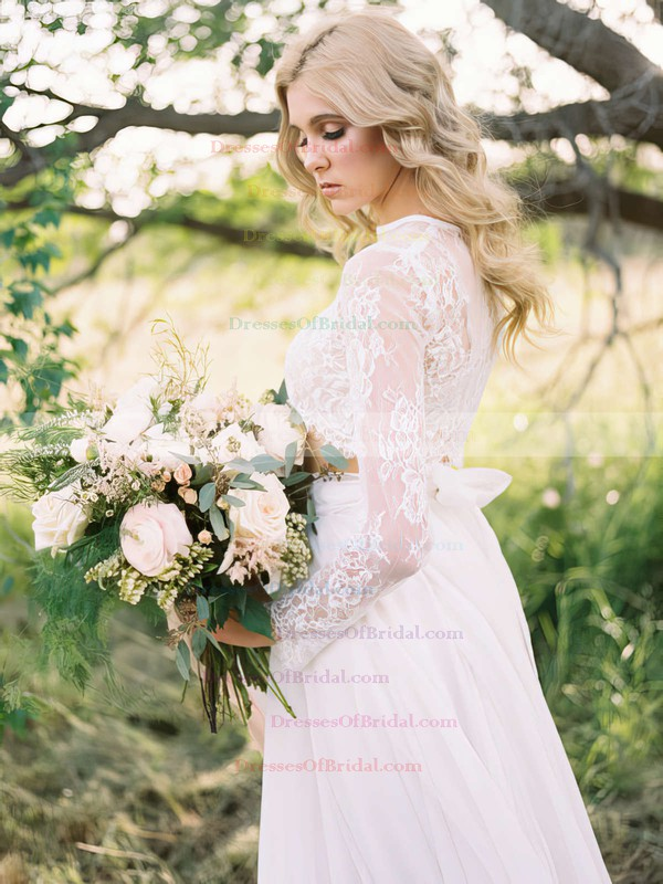Two Piece A-line Scoop Neck Chiffon Tulle Appliques Lace Sweep Train Long Sleeve Different Wedding Dresses #DOB00022631