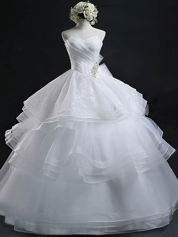 Wholesale Sweetheart Organza with Appliques Lace Floor-length Ball Gown Wedding Dresses #DOB00022632