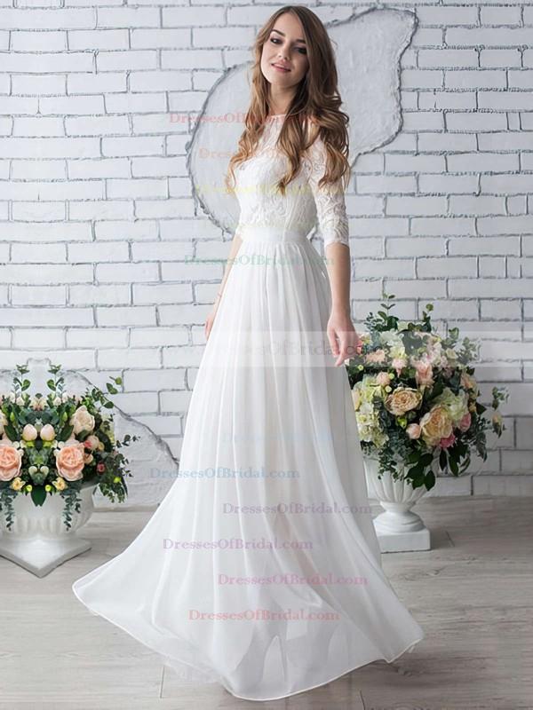 A-line Scoop Neck Chiffon Lace Floor-length Trendy 1/2 Sleeve Wedding Dresses #DOB00022633