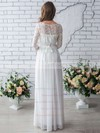 A-line Scoop Neck Chiffon Lace Floor-length Trendy 1/2 Sleeve Wedding Dresses #DOB00022633