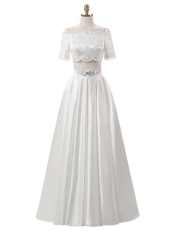 Custom Two Piece A-line Satin Beading Floor-length Short Sleeve Off-the-shoulder Wedding Dresses #DOB00022634