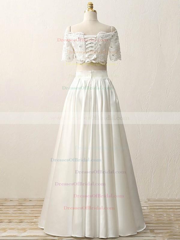 Custom Two Piece A-line Satin Beading Floor-length Short Sleeve Off-the-shoulder Wedding Dresses #DOB00022634
