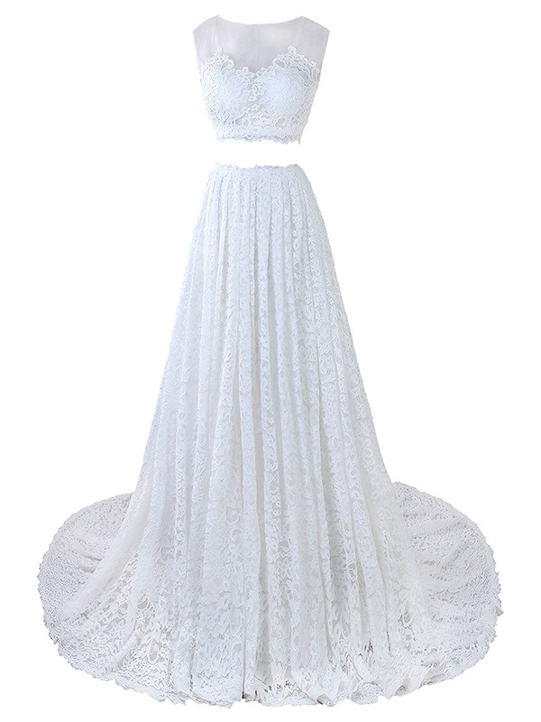Two Piece A-line Scoop Neck Lace Tulle Appliques Lace Court Train Promotion Wedding Dresses #DOB00022635