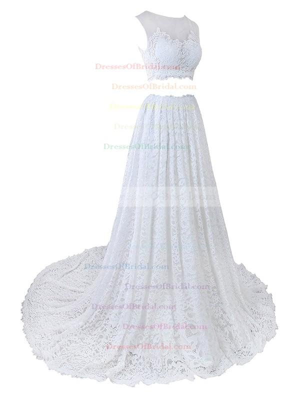 Two Piece A-line Scoop Neck Lace Tulle Appliques Lace Court Train Promotion Wedding Dresses #DOB00022635