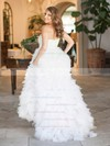 New Arrival A-line Sweetheart Tulle Cascading Ruffles Sweep Train Wedding Dresses #DOB00022636