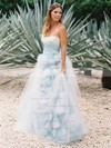 A-line Tulle with Ruffles Sweep Train Backless Fashion Strapless Wedding Dresses #DOB00022637
