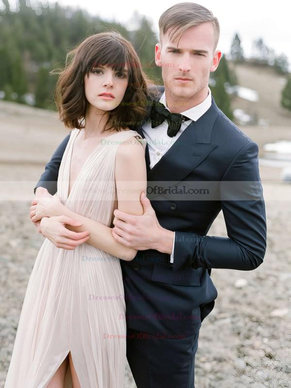 A-line V-neck Chiffon Split Front Floor-length Sexy Backless Wedding Dresses #DOB00022639