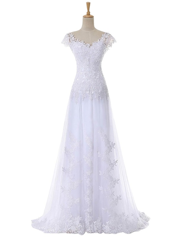 Discounted A-line V-neck Cap Straps Tulle Appliques Lace Sweep Train Wedding Dresses #DOB00022641