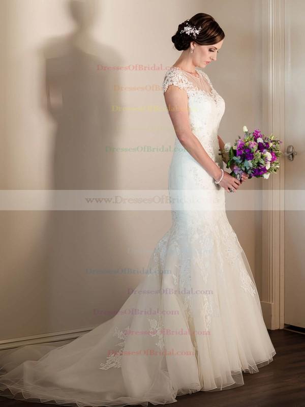 Scoop Neck Cap Straps Tulle Beading Sweep Train Elegant Trumpet/Mermaid Wedding Dresses #DOB00022643