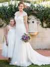 Scoop Neck Cap Straps Tulle Beading Sweep Train Elegant Trumpet/Mermaid Wedding Dresses #DOB00022643