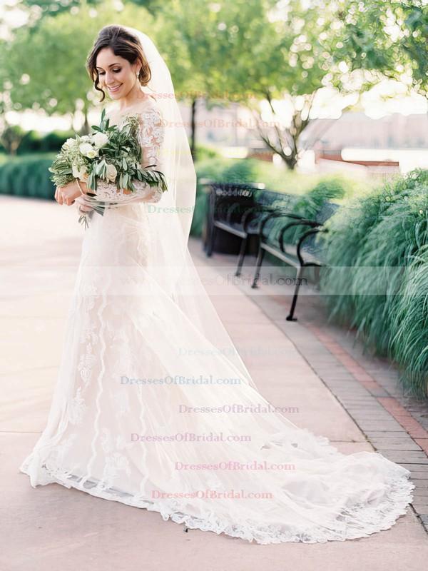 Scoop Neck Tulle Appliques Lace Court Train Long Sleeve Modest Sheath/Column Wedding Dresses #DOB00022644