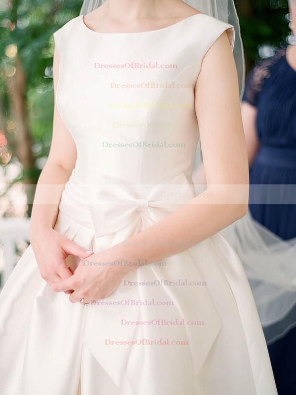 Simple Scoop Neck Satin with Bow Floor-length Princess Wedding Dresses #DOB00022645