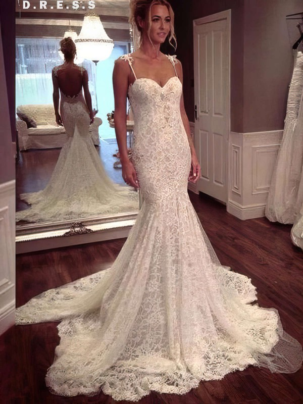 Sexy Sweetheart Lace Appliques Lace Trumpet/Mermaid Watteau Train Wedding Dresses #DOB00022647