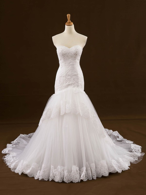 Original Sweetheart Tulle Appliques Lace Court Train Trumpet/Mermaid Wedding Dresses #DOB00022648