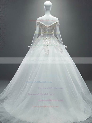 Off-the-shoulder Tulle Appliques Lace Court Train Sparkly Ball Gown Wedding Dresses #DOB00022649