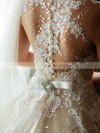 Glamorous Ball Gown Tulle Appliques Lace Sweep Train High Neck Wedding Dresses #DOB00022650