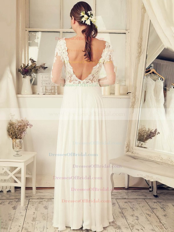Funky Backless A-line V-neck Tulle Chiffon Appliques Lace Floor-length Long Sleeve Wedding Dresses #DOB00022652
