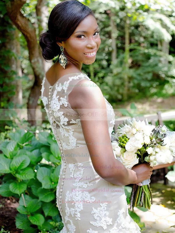 Graceful Scoop Neck Tulle Appliques Lace Court Train Trumpet/Mermaid Wedding Dresses #DOB00022653