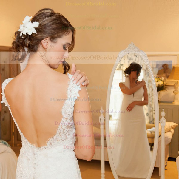 V-neck Sheath/Column Tulle Appliques Lace Sweep Train Backless Classy Wedding Dresses #DOB00022654
