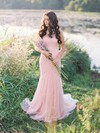 Glamorous Trumpet/Mermaid Tulle with Ruffles Sweep Train One Shoulder Wedding Dresses #DOB00022655