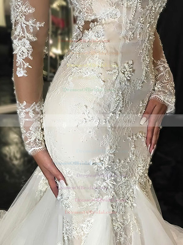 Glamorous Scoop Neck Tulle Appliques Lace Court Train Long Sleeve Trumpet/Mermaid Wedding Dresses #DOB00022656