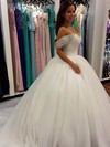 Fabulous Ball Gown Tulle with Beading Cathedral Train Off-the-shoulder Wedding Dresses #DOB00022659