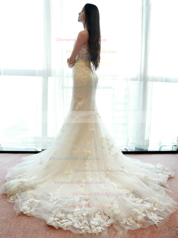 Beautiful Trumpet/Mermaid Tulle Appliques Lace Sweep Train Strapless Wedding Dresses #DOB00022660