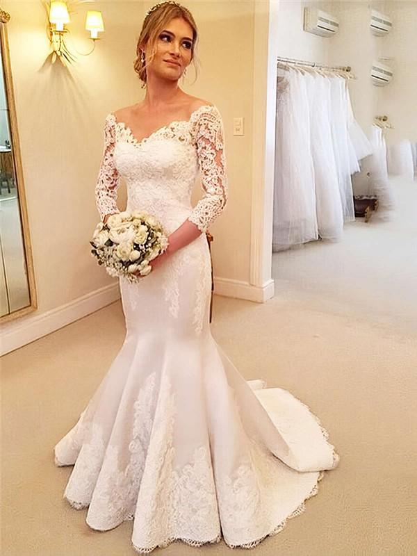 Off-the-shoulder Trumpet/Mermaid Satin Tulle Appliques Lace Sweep Train Elegant 3/4 Sleeve Wedding Dresses #DOB00022661