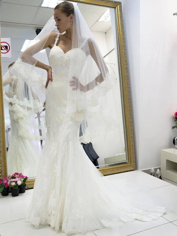 Perfect Trumpet/Mermaid Sweetheart Tulle Appliques Lace Sweep Train Backless Wedding Dresses #DOB00022662