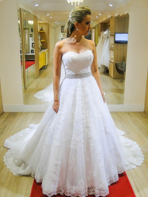 A-line Sweetheart Tulle with Appliques Lace Chapel Train Boutique Wedding Dresses #DOB00022663