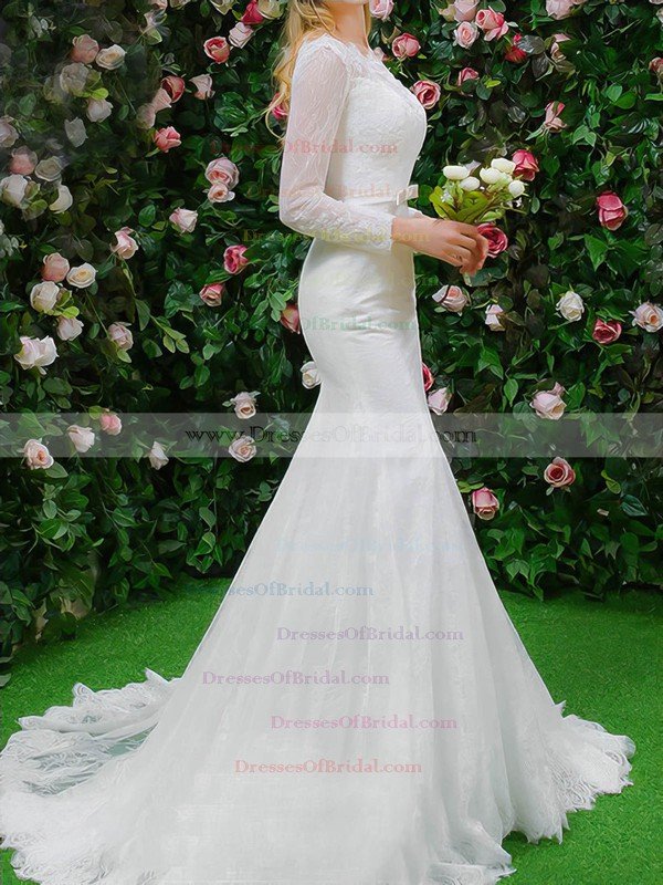 Famous Trumpet/Mermaid Scalloped Neck Lace Appliques Lace Sweep Train Long Sleeve Wedding Dresses #DOB00022664
