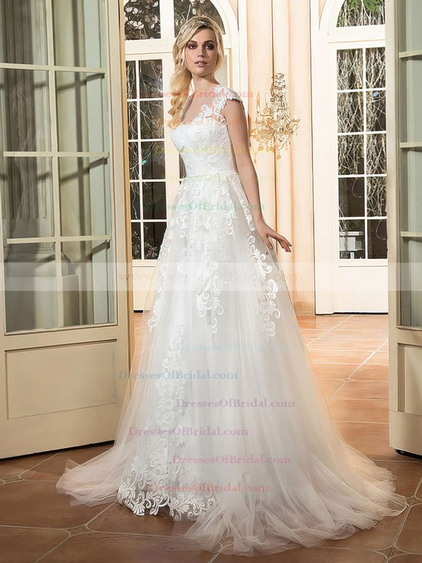 A-line Scoop Neck Cap Straps Tulle with Appliques Lace Sweep Train Pretty Wedding Dresses #DOB00022665