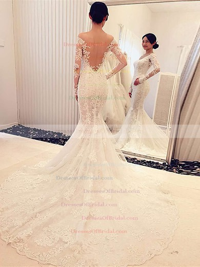 New Trumpet/Mermaid Tulle Appliques Lace Court Train Long Sleeve Off-the-shoulder Wedding Dresses #DOB00022666