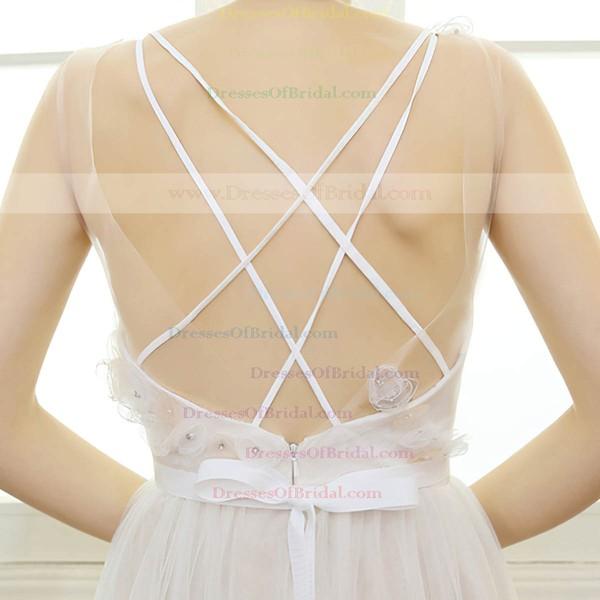 A-line V-neck Tulle with Beading Floor-length Backless Hot Wedding Dresses #DOB00022668