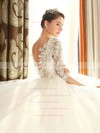 Stunning Backless Ball Gown Scoop Neck Tulle Appliques Lace Chapel Train 1/2 Sleeve Wedding Dresses #DOB00022670