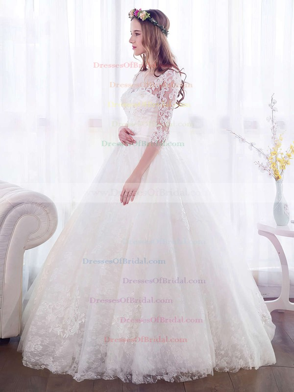 Ball Gown Scoop Neck Lace Tulle Appliques Lace Floor-length 3/4 Sleeve Beautiful Wedding Dresses #DOB00022671