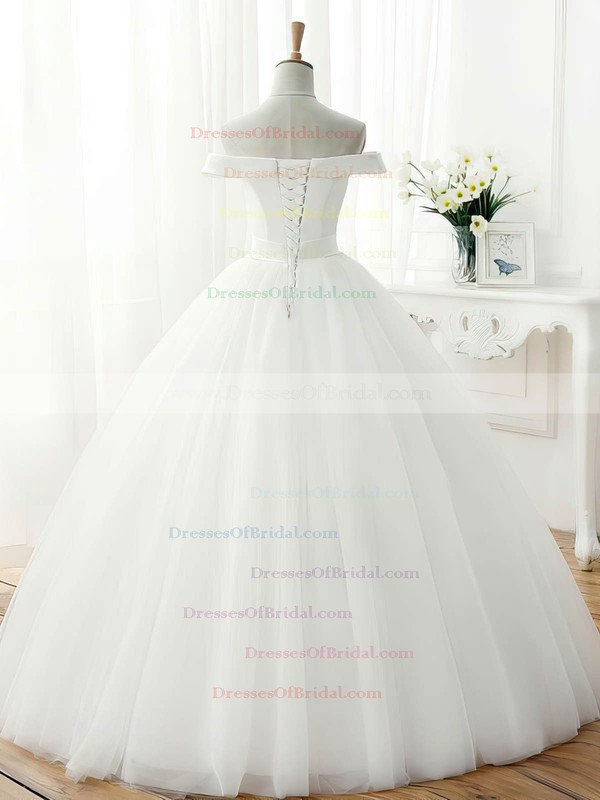 Vintage Ball Gown Tulle Sashes / Ribbons Floor-length Off-the-shoulder Wedding Dresses #DOB00022672