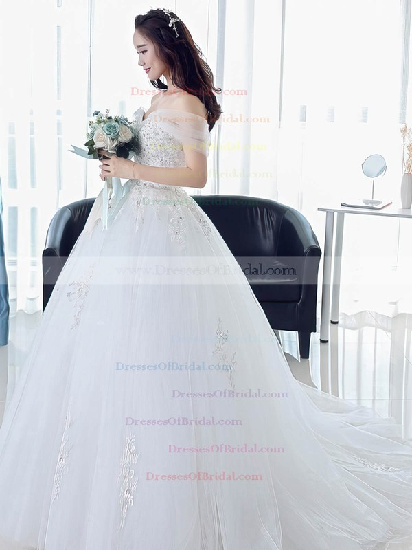 Princess Off-the-shoulder Tulle Beading Sweep Train Backless Newest Wedding Dresses #DOB00022673