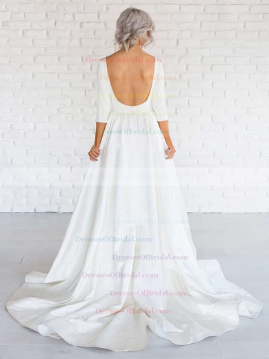 Simple Backless A-line Scoop Neck Satin Ruffles Sweep Train Long Sleeve Wedding Dresses #DOB00022674