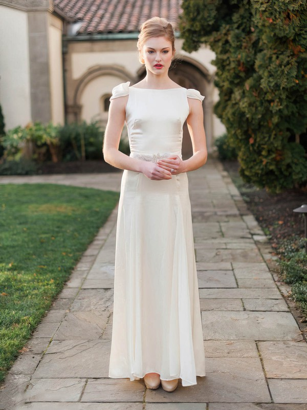 Scoop Neck Sheath/Column Chiffon Silk-like Satin Sashes / Ribbons Ankle-length Latest Wedding Dresses #DOB00022675