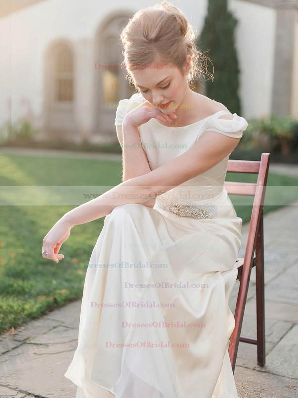 Scoop Neck Sheath/Column Chiffon Silk-like Satin Sashes / Ribbons Ankle-length Latest Wedding Dresses #DOB00022675