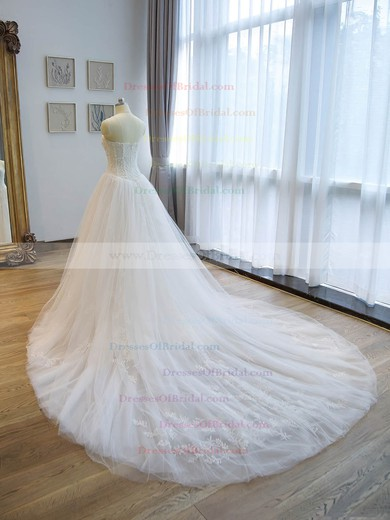 A-line Sweetheart Tulle with Beading Chapel Train Original Wedding Dresses #DOB00022676