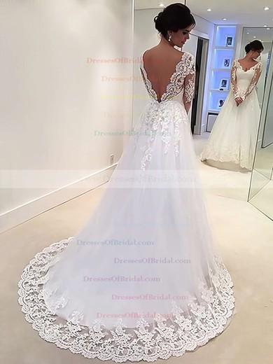 Online Backless A-line V-neck Tulle Appliques Lace Sweep Train Long Sleeve Wedding Dresses #DOB00022677