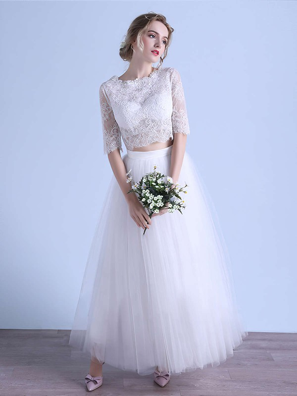 Two Piece A-line Scoop Neck Tulle Appliques Lace Ankle-length 1/2 Sleeve Unique Wedding Dresses #DOB00022679